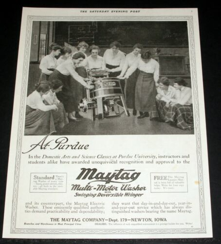 1917 OLD MAGAZINE PRINT AD, MAYTAG AT PURDUE UNIVERSITY, IN DOMESTIC ARTS CLASS!