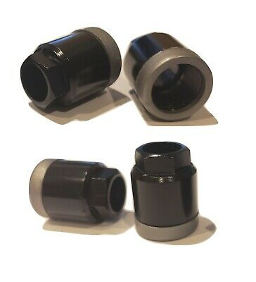 Set of 4 Black and Silver Tire Pressure Sensor Valve Stem TPMS Mounting Nuts