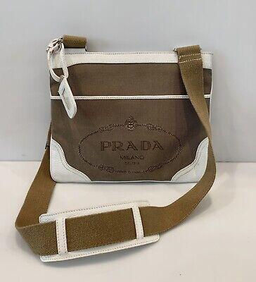 Vintage Prada Jacquard Messenger Bag Crossbody Textile Logo Leather Handbag