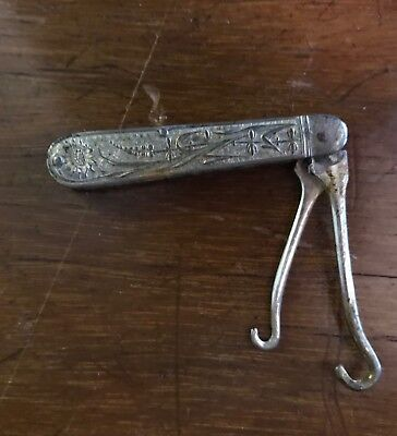Victorian SP Repousse Button Hook Pocket Knife
