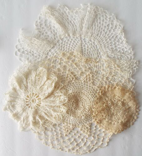 """Antique/Vintage Crocheted Doily Lot of 4 Intricate Open Work Doilies - 6"""" to 16"""""""