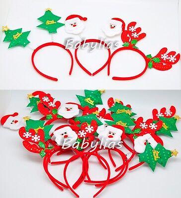 12 Christmas Headbands Santa Reindeer Adults Kids Hair Costume Hat Party - Kids Reindeer Antlers