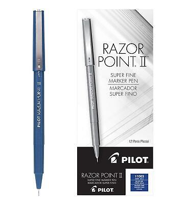 Pilot Razor Point Ii Fine Line Marker Stick Pens Super Fine Point 0.2mm Blue
