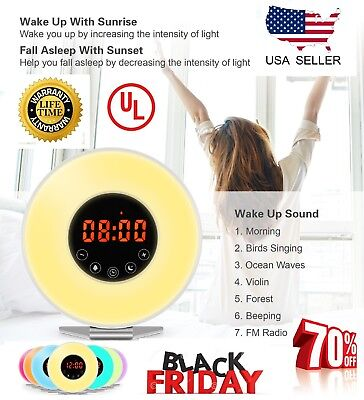 Sunrise Alarm Clock Light - Wake Up Light Alarm Clock Digital LED 6 Color Switch Radio Sunrise Natural Bed