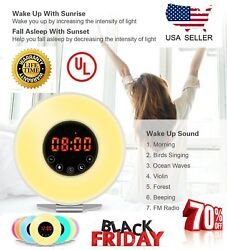 Wake Up Alarm Clock Digital LED 6 Color Switch Radio Sunrise Natural Light Bed