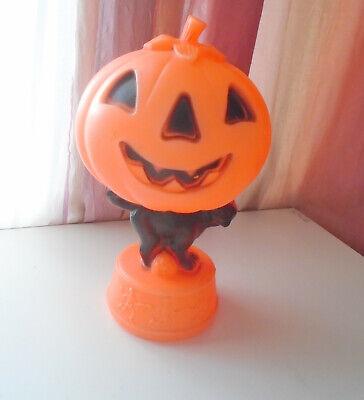 "Vtg Empire Halloween 14"" Black Cat Pumpkin Jack O Lantern Skeletons Blow Mold"