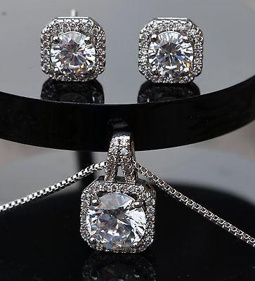 925 Bridesmaid Wedding Jewellery Set, Crystal Necklace & Earrings,Bridal Jewelry