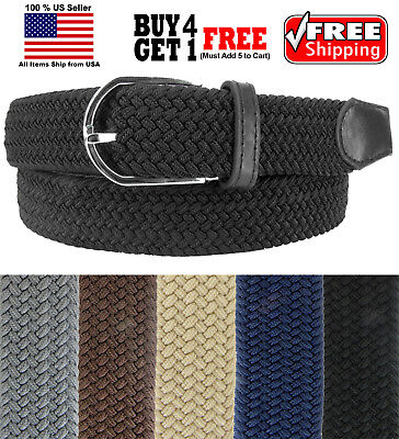 MULTI COLORS BASKET WEAVE WOVEN STRETCH ELASTIC BELT with BELT BUCKLE Belts