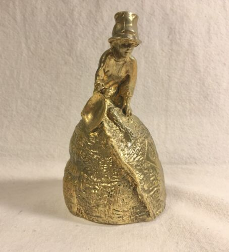 SIGNED VINTAGE SOLID BRASS FIGURAL BELL Featuring BOY WITH SHOVEL ON MOUND