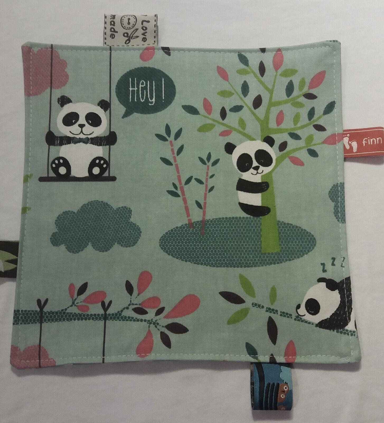Knistertuch Schmusetuch Babyspieltuch Motoriktuch  trendige Pandabären f&f