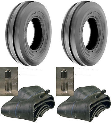 Two 4.00-19 Tri-rib 3 Rib Front Tractor Tires Tubes 8n 9n 4 Ply Rated