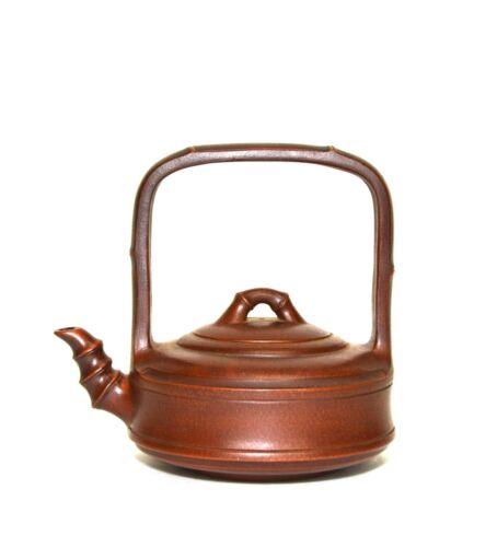 Vintage Chinese Yixing Zisha Purple Clay Bamboo Form Ceramic Teapot