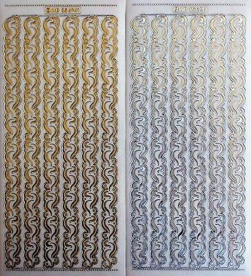 Borders Peel Off Stickers - Embossed on Clear Ornament Borders PEEL OFF STICKERS Wide Swirls Flourish Border