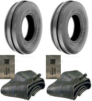 Two 6.50-16 6.50x16 650-16 Tri-rib 3 Rib 6ply Tractor Tires Tubes Heavy Duty
