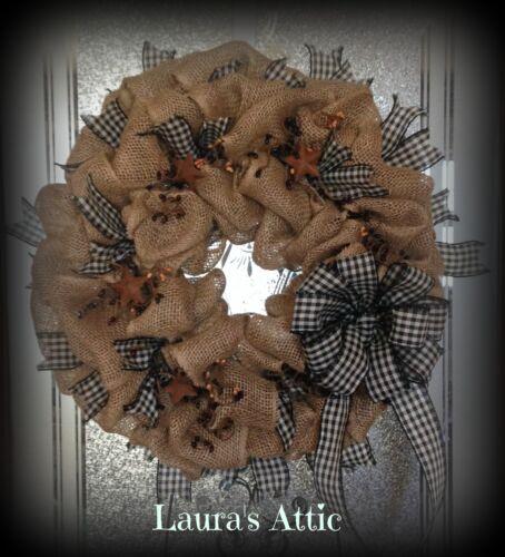 Primitive-Farm House~Country Burlap Wreath~Pip Berries~Rusty Stars~Black/Tan