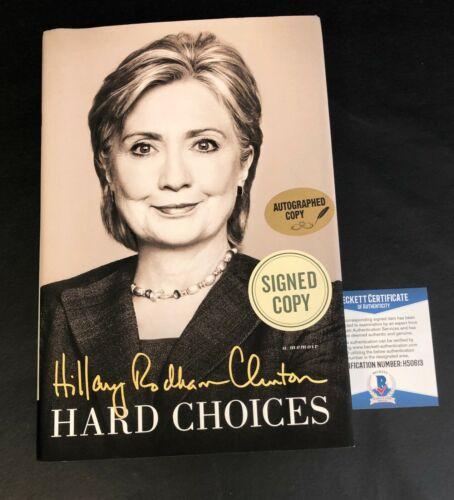 HILLARY CLINTON SIGNED BOOK HARD CHOICES AUTOGRAPH BECKETT BAS COA 2
