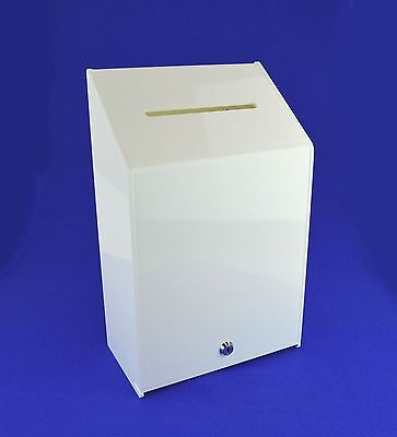 Collection Box Suggestion Box - White Acrylic - Lockable - PDS9463 XWhite