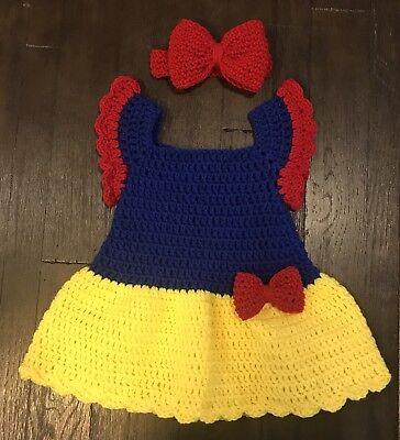 Baby Girl Crochet Snow White Halloween Costume Princess 3-6 month Dress & Bow!!