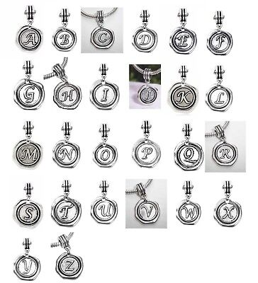 Alphabet Wax Stamp Letter Initial Dangle Charm for European Bead Slide - Alphabet Letter Initial Bead