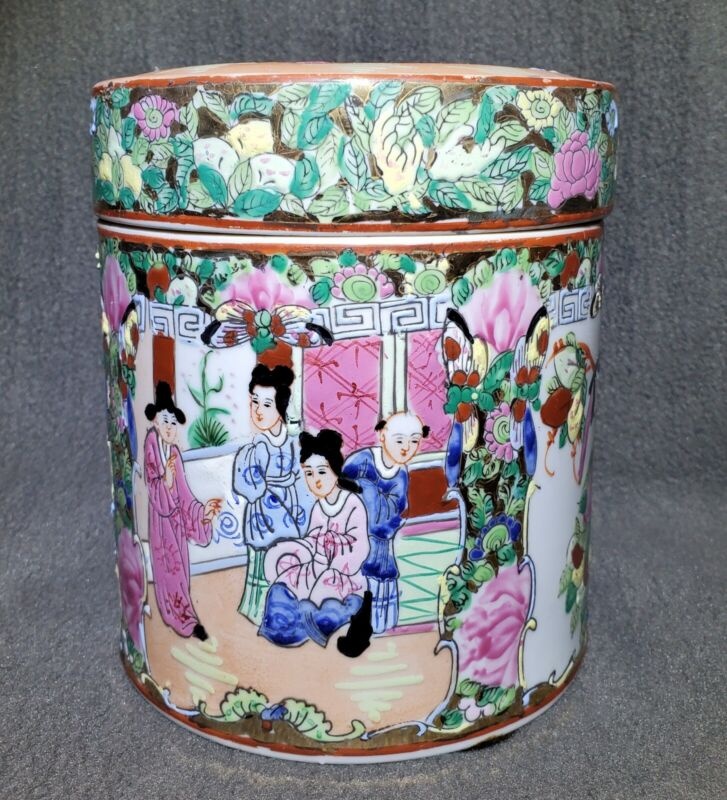 19th c CHINESE FAMILLE ROSE MEDALLION CANTON TEA CADDY BOX & LID PORCELAIN 6""