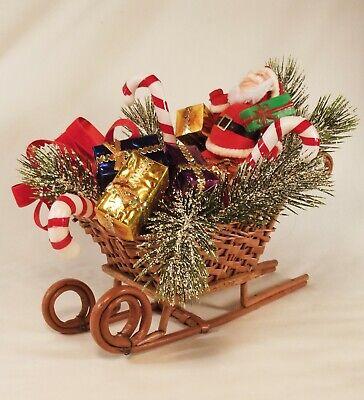 Christmas Sleigh Decoration (Vintage CHRISTMAS SANTA & Wicker SLED SLEIGH w/ PRESENTS  Centerpiece)