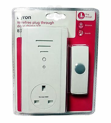 BYRON WIREFREE PLUG IN DOOR BELL CHIME KIT WITH PLUG THROUGH SOCKET 50M - B306