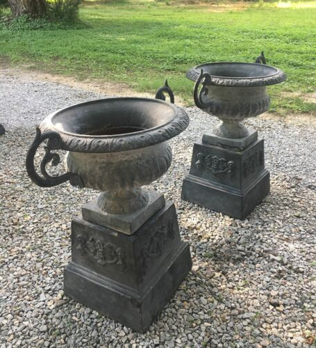 Old Pair of Cast Iron Garden Urns w/ Stands Double Handled