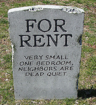 Halloween 'For Rent' tombstone prop graveyard decoration 24