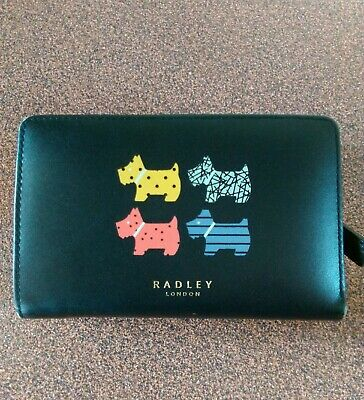 RADLEY MEDIUM BLACK LEATHER QUAD DOG PURSE.. USED..BARGAIN PRICE