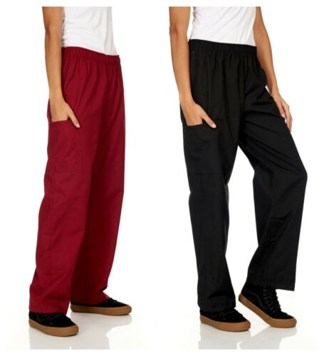 Unisex Medical Nursing Solid Scrubs Pants With Pockets Uniform Bottoms Plus Size