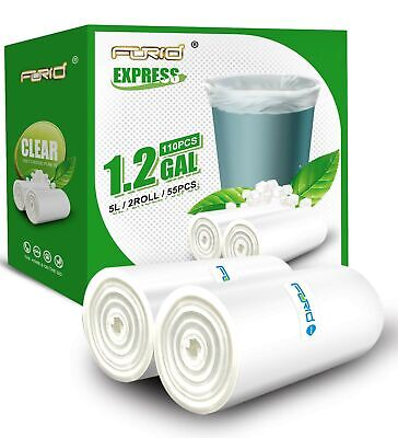 Small Clear Trash Bags FORID 1.2 Gallon Tiny Garbage Bags 110 Count Wastebask...