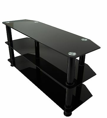 All Black Gloss Glass TV Stand For Large LED LCD Plasma Television 32 - 60""