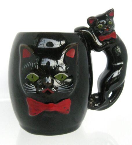 Vintage Shafford Black Cat Coffee Mug Redware Japan UNIQUE Halloween Bow Tie