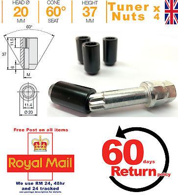 20x FORD ALLOY WHEEL SLIM TUNER NUTS 17mm HEX KEY M12 x 1.5 FOCUS KA FIESTA KUGA