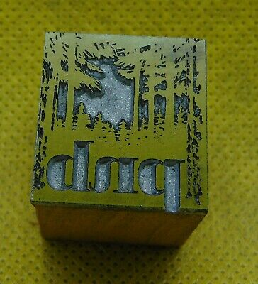 Vintage Printing Letterpress Printers Block Pnb Initials Trees Forest