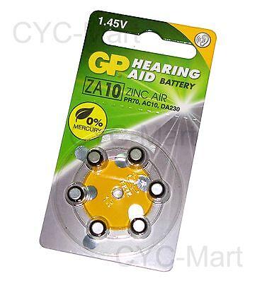 GP Hearing Aid Battery ZA10 (PR70, AC10, DA230) x 6 pcs Made in USA FREE POST