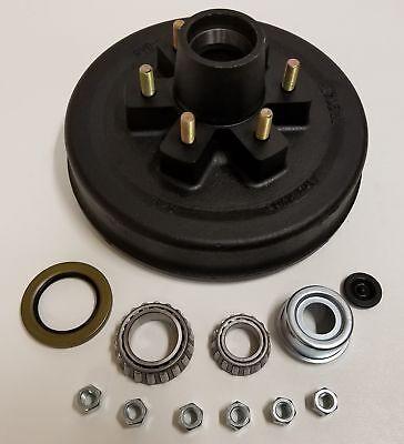 Brake Drum Seal Kit - Trailer Brake Hub Drum Kit 12 in. x 2 w/ Bearings, Seal, Cap, Lugs (6 on 5.5)