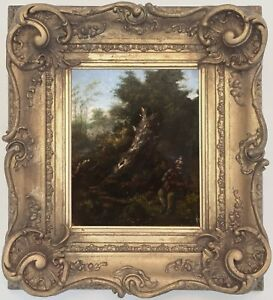 Musician in Landscape Antique Old Master Oil Painting 18th Century Dutch School