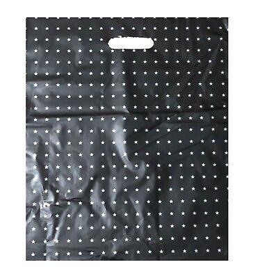 BlackDie Cut Bags with handles Low Density Gift Store 12x13 Lot 100