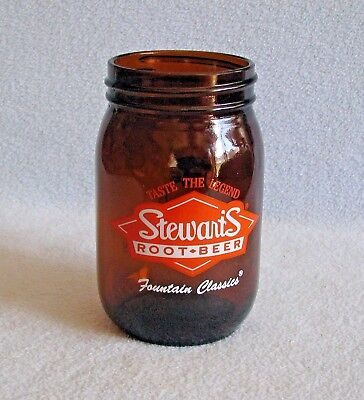 "Vintage 5"" Stewarts Root Beer Fountain CLASSICS Mason Jar Drinking Glass # 12"