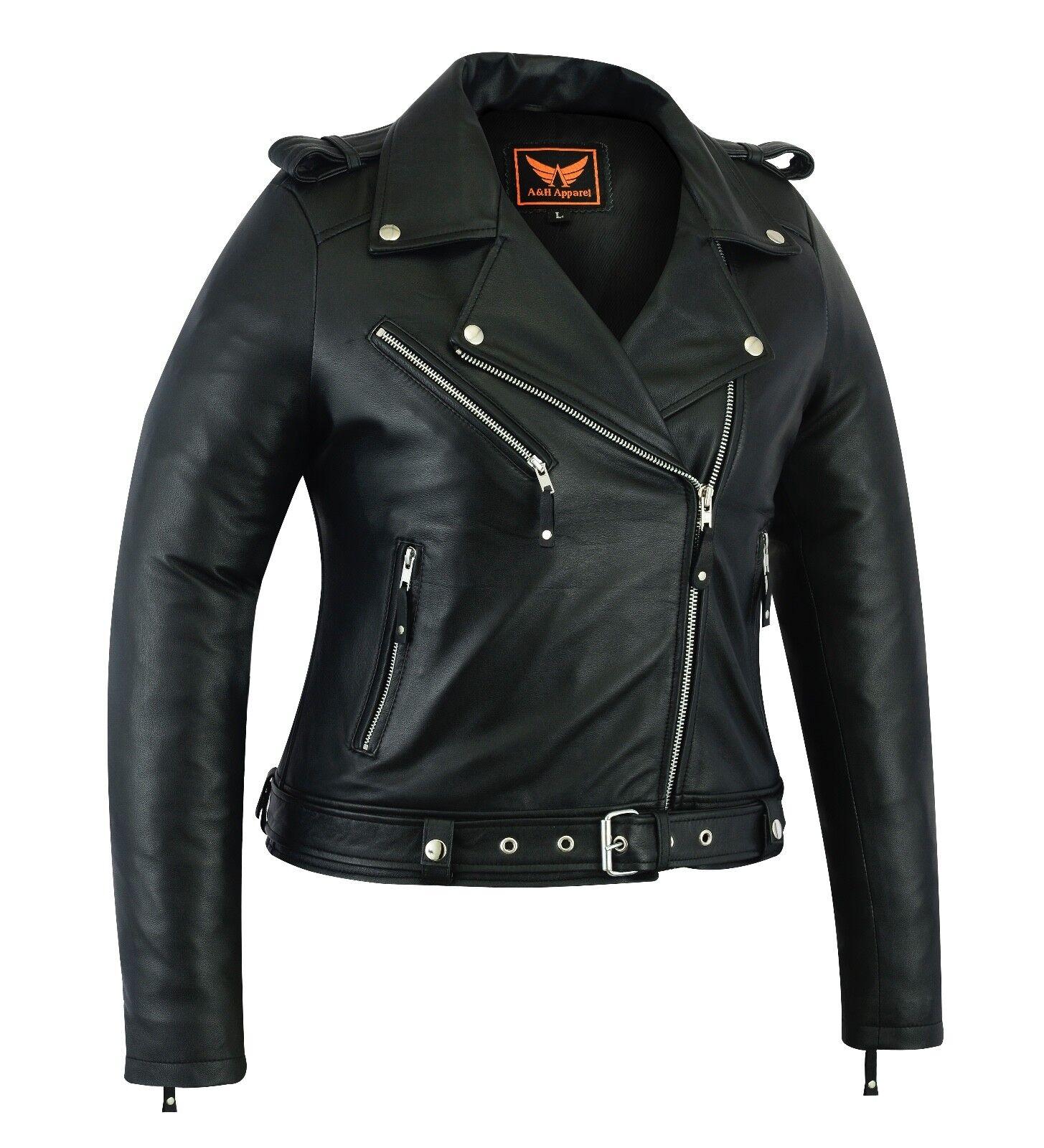 Womens Genuine Sheep Leather Classic Crop Biker Jacket Moto