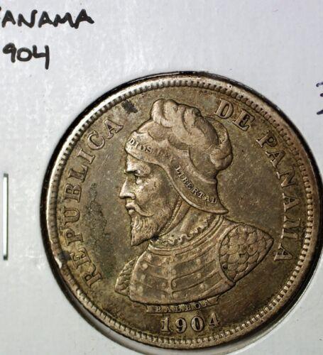 1904 Panama Veinticinco Centesimos 25 Cents Extra Fine Circulated Silver Coin