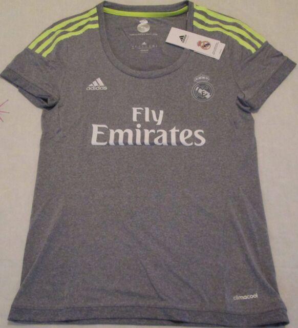 Real Madrid womens away football shirt size L/16-18 Adidas 2015 2016 BNWT