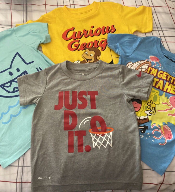 Lot Of 4 Toddler Boy Tshirts 3t Nike Curious George Sponge Bob Shark