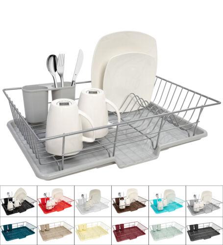Home Basics 3-Piece Kitchen Sink Dish Drainer Set - Six Colo