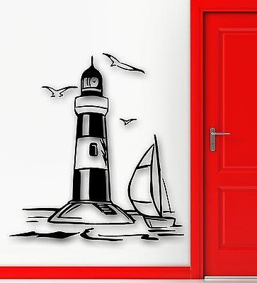 ig4426 Vinyl Wall Decal Ship Lighthouse Sea Nautical Marine Stickers Murals
