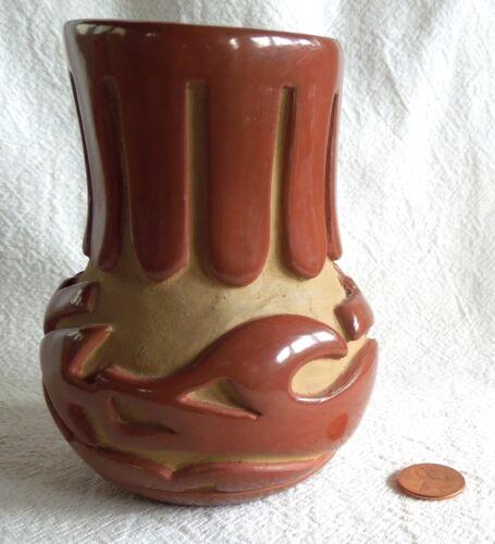1978 REYCITA COSEN Santa Clara Deep Red Avanyu Carved VASE 4.5 Inch *Free Ship*