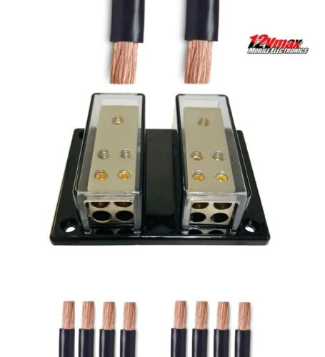 Car Audio Distribution Block Amplifier (2) 4 Gauge In (8) 8 Gauge Fuse less