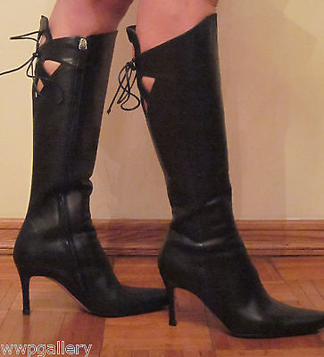 VALENTINO GARAVANI ITALY HIGH BOOTS SIZE 37.5 7.5  7  HEEL  BLACK COLOR LEATHER  for sale  Brooklyn