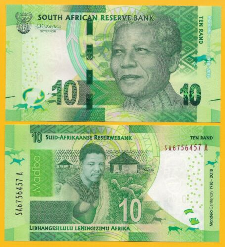 South Africa 10 Rand p-new 2018 Commemorative Nelson Mandela UNC Banknote